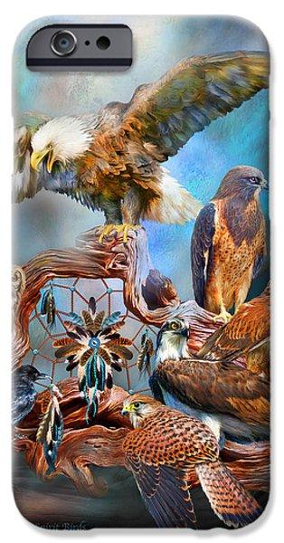 Spirit Hawk iPhone Cases - Dream Catcher - Spirit Birds iPhone Case by Carol Cavalaris