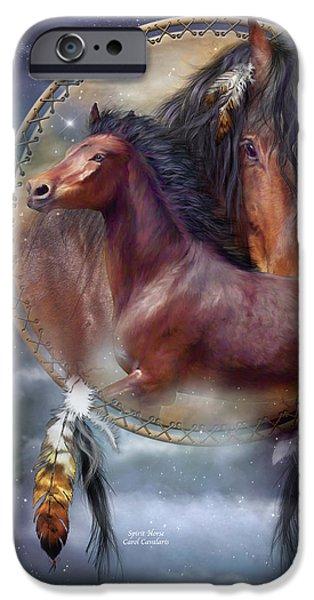 Art Of Horses iPhone Cases - Dream Catcher - Spirit Horse iPhone Case by Carol Cavalaris
