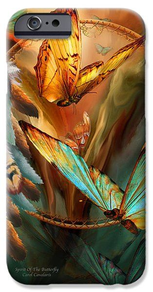 Dreamcatcher iPhone Cases - Dream Catcher - Spirit Of The Butterfly iPhone Case by Carol Cavalaris