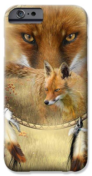 Dream Catcher- Spirit Of The Red Fox iPhone Case by Carol Cavalaris
