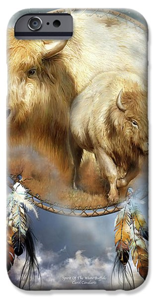 Bison iPhone Cases - Dream Catcher - Spirit Of The White Buffalo iPhone Case by Carol Cavalaris
