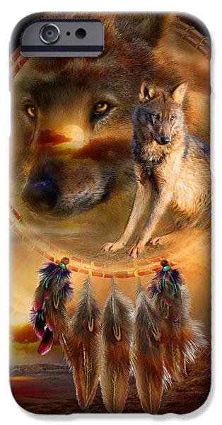 Dream Catcher - WolfLand iPhone Case by Carol Cavalaris