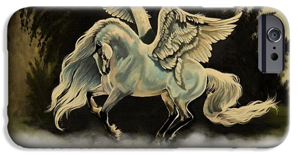 Drawing Of A Horse iPhone Cases - Dream Horse Series #206- A Pegasus In The Mist  iPhone Case by Cheryl Poland