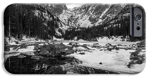 Reflection Of Sun In Clouds iPhone Cases - Dream Lake Reflection Black and White iPhone Case by Aaron Spong