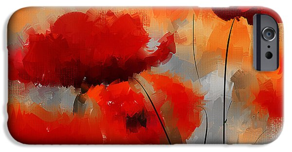 In Bloom Paintings iPhone Cases - Dream Of Poppies iPhone Case by Lourry Legarde