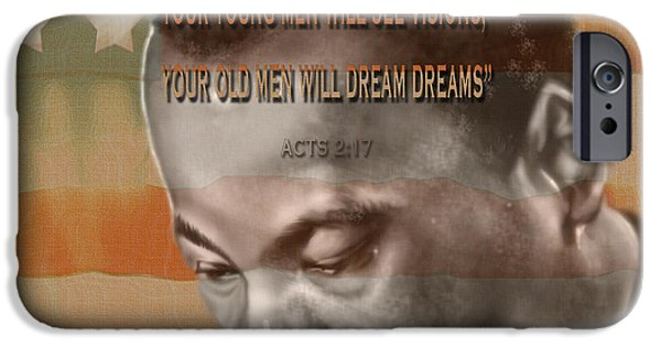 Super Stars iPhone Cases - DREAM OR PROPHECY - Dr Rev Martin  Luther King Jr iPhone Case by Reggie Duffie