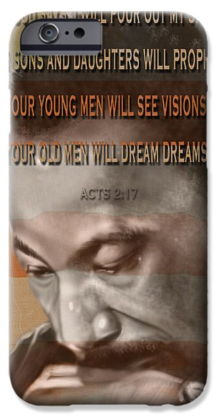 DREAM OR PROPHECY - Dr Rev Martin  Luther King Jr iPhone Case by Reggie Duffie