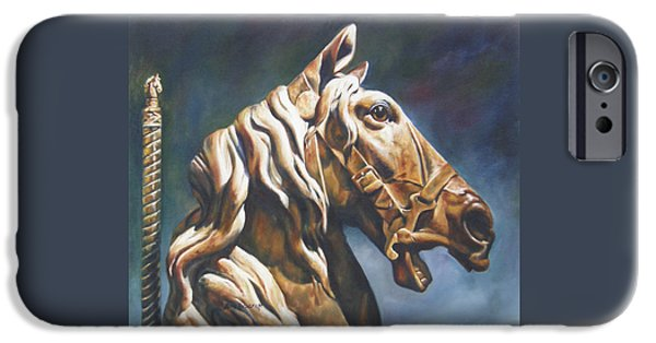 Carousel Horse Paintings iPhone Cases - Dream Racer iPhone Case by Lori Brackett