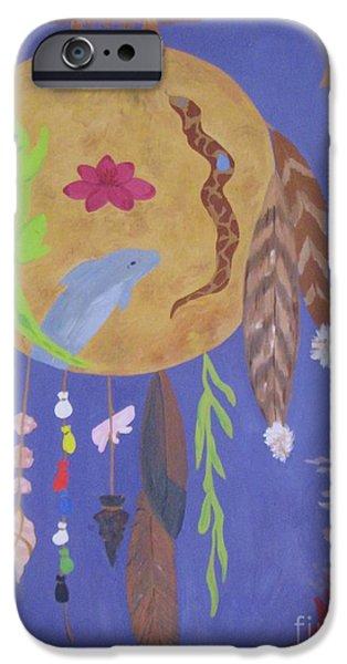 Spirit Hawk iPhone Cases - Dream Spirit Shield iPhone Case by Ellen Levinson