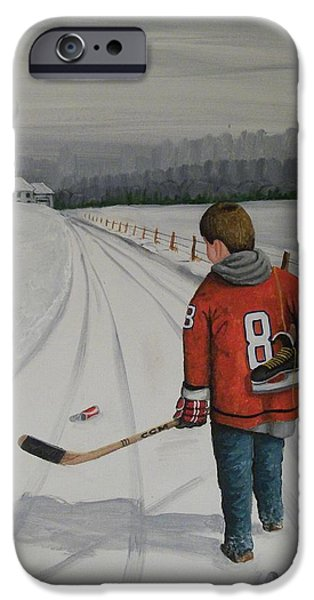 Hockey Paintings iPhone Cases - Dream Walking - Alex iPhone Case by Ron  Genest