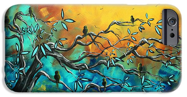 Whimsy Paintings iPhone Cases - Dream Watchers Original abstract Bird Painting iPhone Case by Megan Duncanson
