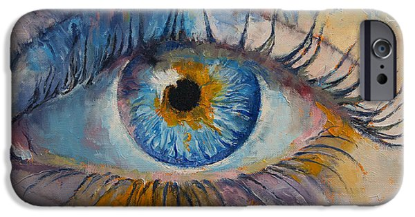 Michael Paintings iPhone Cases - Eye iPhone Case by Michael Creese