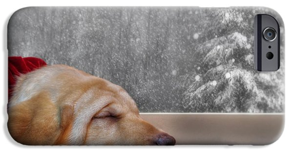 Pups Digital Art iPhone Cases - Dreamin of a White Christmas 2 iPhone Case by Lori Deiter
