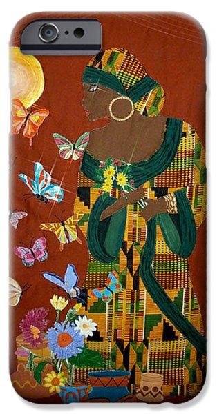 African-americans Tapestries - Textiles iPhone Cases - Dreaming Butterflies iPhone Case by Linda Egland
