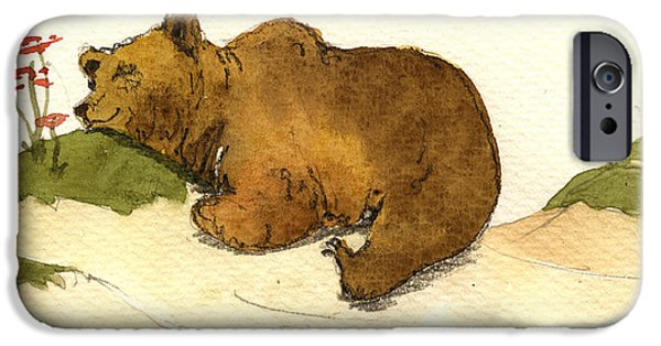 Original Watercolor iPhone Cases - Dreaming grizzly bear iPhone Case by Juan  Bosco