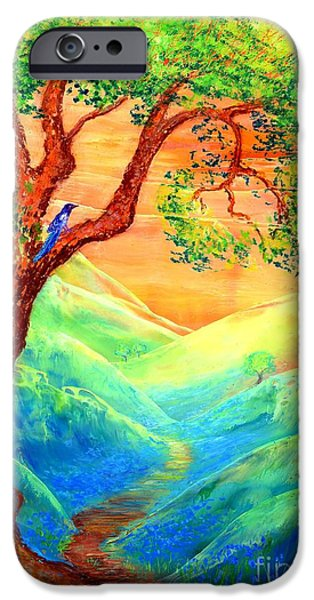 Dream Paintings iPhone Cases - Dreaming of Bluebells iPhone Case by Jane Small