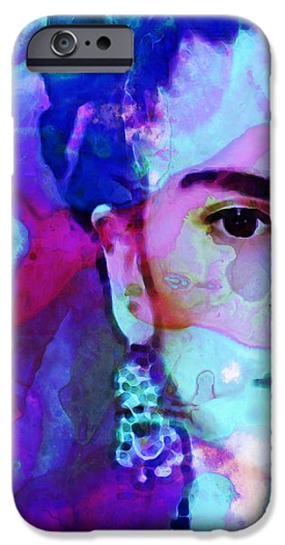 Icon Mixed Media iPhone Cases - Dreaming of Frida - Art By Sharon Cummings iPhone Case by Sharon Cummings