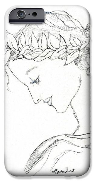 Pen And Ink iPhone Cases - Dreaming of the Dance iPhone Case by Maria Hunt