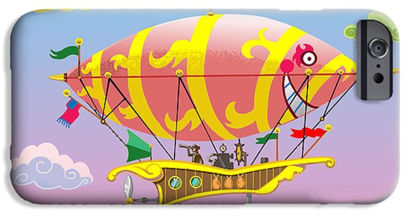 Hot Air Balloon Mixed Media iPhone Cases - Dreamship iPhone Case by J L Meadows