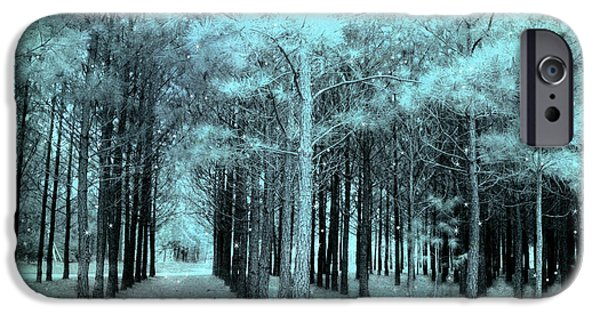 Eerie Photographs iPhone Cases - Dreamy Aqua Mint Teal Fantasy Fairytale Trees Woodlands and Stars iPhone Case by Kathy Fornal