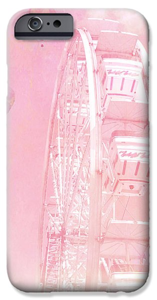 Hot Air Balloon iPhone Cases - Dreamy Baby Pink Ferris Wheel Carnival Art With Hot Air Balloons iPhone Case by Kathy Fornal
