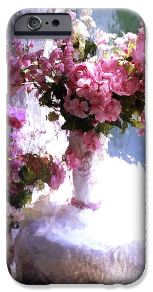 Best Sellers -  - Floral Digital Art Digital Art iPhone Cases - Dreamy Cottage Chic Impressionistic FLowers - Pink Roses Pink Vases iPhone Case by Kathy Fornal