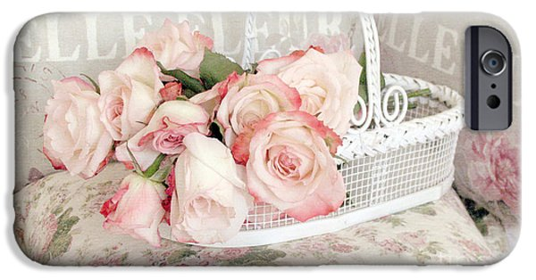 Basket iPhone Cases - Dreamy Cottage Shabby Chic Pink Roses In White Basket - Belle Fleur French Roses iPhone Case by Kathy Fornal