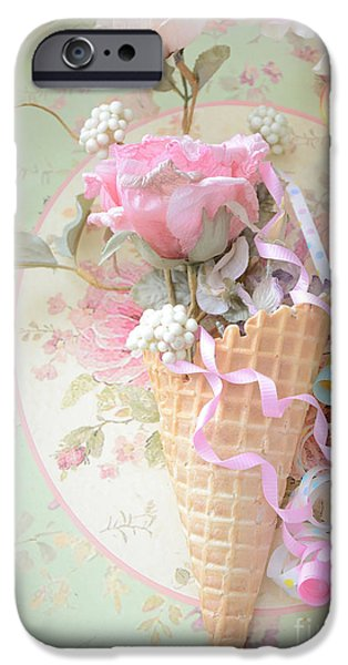 Floral Photographs iPhone Cases - Dreamy Cottage Shabby Chic Romantic Floral Art With Waffle Cone and Party Ribbons iPhone Case by Kathy Fornal
