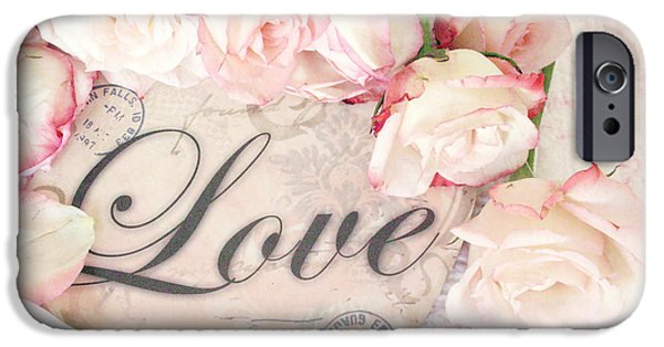 Decor Photography iPhone Cases - Dreamy Cottage Shabby Chic Roses Heart With Love - Love Typography Heart Romantic Cottage Chic iPhone Case by Kathy Fornal