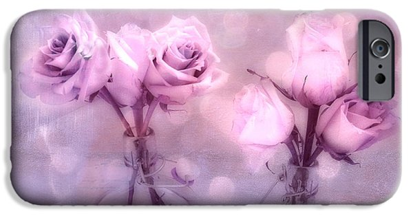 Floral Photographs iPhone Cases - Dreamy Pink and Purple Cottage Floral Shabby Chic Roses - Impressionistic Romantic Pink Floral Art  iPhone Case by Kathy Fornal