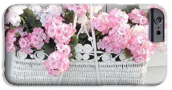 Floral Photographs iPhone Cases - Dreamy Pink and White Hydrangeas In Hanging Basket - Shabby Chic Cottage Hydrangea Romantic Flowers iPhone Case by Kathy Fornal