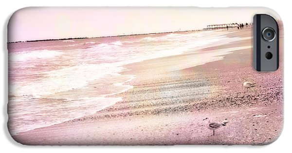 Ocean Photography iPhone Cases - Dreamy Pink Beach Ocean Coastal Wrightsville Beach North Carolina Beach Ocean Art iPhone Case by Kathy Fornal