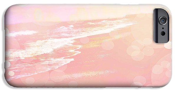 Ocean Art Photography iPhone Cases - Dreamy Pink Beach Ocean Coastal Wrightsville Beach North Carolina - Surreal Pink Bokeh Ocean Waves iPhone Case by Kathy Fornal