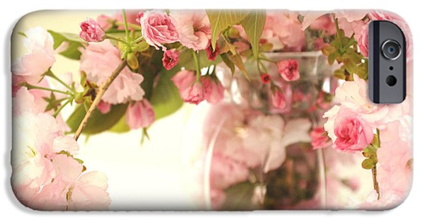 Cherry Blossoms Photographs iPhone Cases - Dreamy Shabby Chic Cottage Pink Cherry Blossoms Flowers In Vase iPhone Case by Kathy Fornal