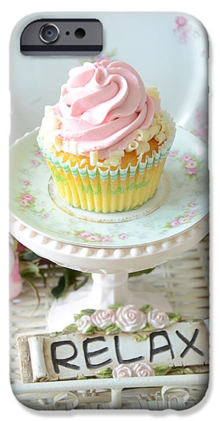 Floral Photographs iPhone Cases - Dreamy Shabby Chic Cupcake Romantic Food Vintage Cottage Food Photography - Just Relax iPhone Case by Kathy Fornal