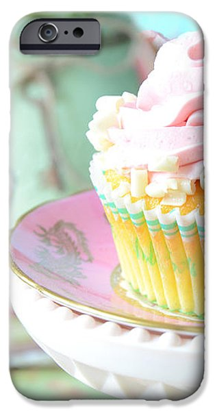 Dreamy Shabby Chic Cupcake Vintage Romantic Food and Floral Photography - Pink Teal Aqua Blue  iPhone Case by Kathy Fornal