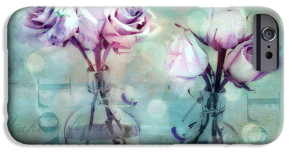 Floral Photographs iPhone Cases - Dreamy Shabby Chic Roses Impressionistic Pink Teal Aqua - Romantic Roses Love Floral Impressionistic iPhone Case by Kathy Fornal