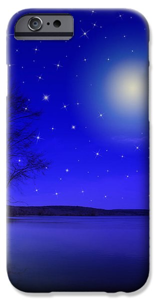 Rollo Digital Art iPhone Cases - Dreamy Stars at Night iPhone Case by Christina Rollo