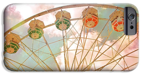Fair iPhone Cases - Carnival Fair Festival Ferris Wheel - Dreamy Pink Ferris Wheel Carnival Festival Rides iPhone Case by Kathy Fornal