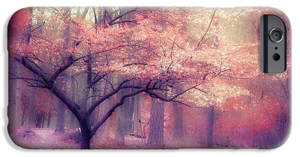 Nature Scene iPhone Cases - Dreamy Surreal Fall Autumn Ethereal Trees Nature Landscape South Carolina Nature Landscape iPhone Case by Kathy Fornal