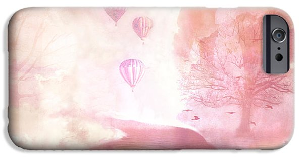 Hot Air Balloon iPhone Cases - Dreamy Surreal Fantasy Fairytale Pastel Hot Air Balloons Dreamland Nature Fantasy Art iPhone Case by Kathy Fornal