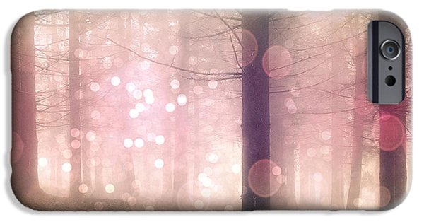 Dark Pink iPhone Cases - Dreamy Surreal Pink Pastel Fairytale Nature Trees With Bokeh Circles - Fantasy Pink Nature iPhone Case by Kathy Fornal