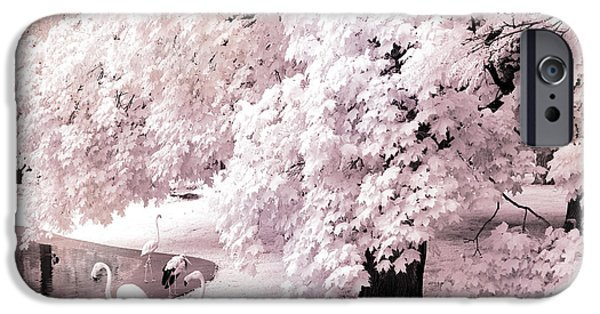 Park Scene iPhone Cases - Dreamy Surreal Pink White Infrared Pink Flamingos In Pond - Pink Flamingos Dreamy Nature Landscape iPhone Case by Kathy Fornal