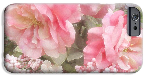 Abstract Floral Art iPhone Cases - Dreamy Vintage Cottage Shabby Chic Pink Roses - Romantic Roses iPhone Case by Kathy Fornal