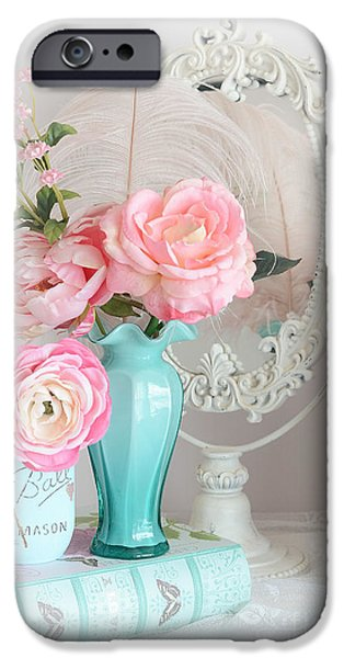 Floral Photographs iPhone Cases - Dreany Shabby Chic Cottage Pink Aqua Floral - Romantic Cottage Chic Pink Roses and Books  iPhone Case by Kathy Fornal