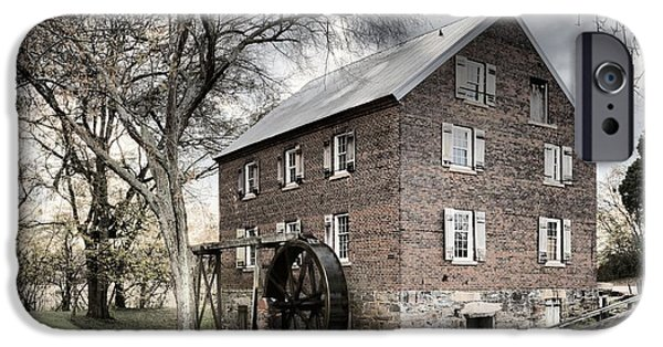 Grist Mill iPhone Cases - Dreary Skies At Kerr Gristmill iPhone Case by Adam Jewell