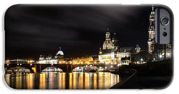 Skyline Pyrography iPhone Cases - Dresden Night iPhone Case by Steffen Gierok
