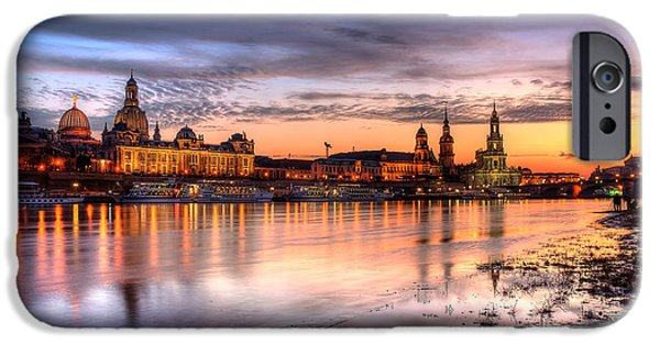 Skyline Pyrography iPhone Cases - Dresden Sunset iPhone Case by Steffen Gierok