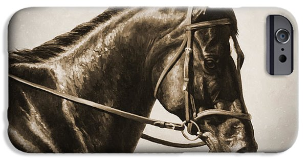 Horseback Riding iPhone Cases - Dressage Horse Old Photo FX iPhone Case by Crista Forest