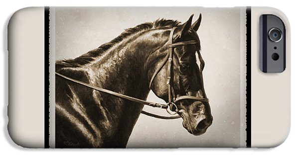 Tack iPhone Cases - Dressage Horse Old Photo FX iPhone Case by Crista Forest